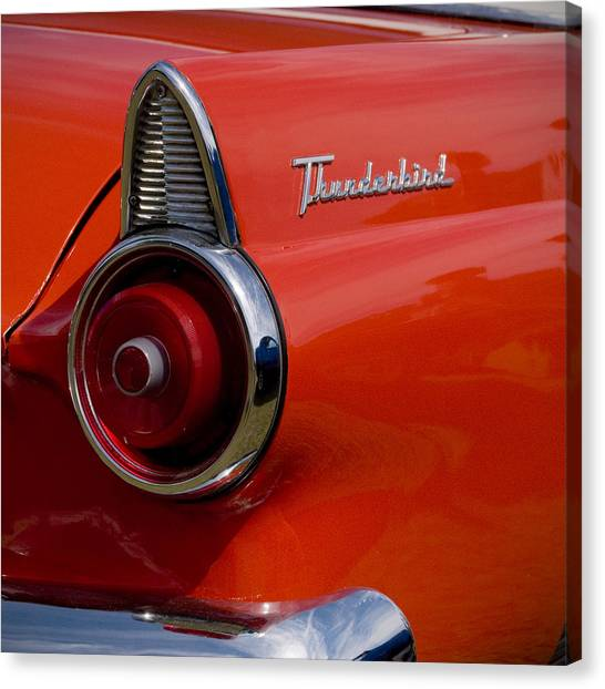Canvas Print featuring the photograph 1955 427 Thunderbird Tail Light by Beverly Stapleton