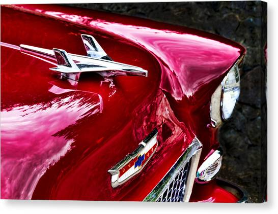 1955 Chevy Bel Air Hood Ornament Canvas Print