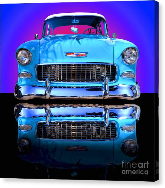 General Motors Automobiles Canvas Print - 1955 Chevy Bel Air by Jim Carrell
