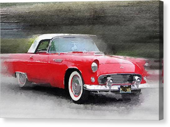 Classic Cars Canvas Print - 1955 Ford Thunderbird Watercolor by Naxart Studio