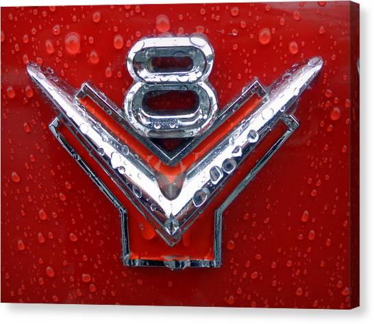 1955 Ford V8 Emblem Canvas Print