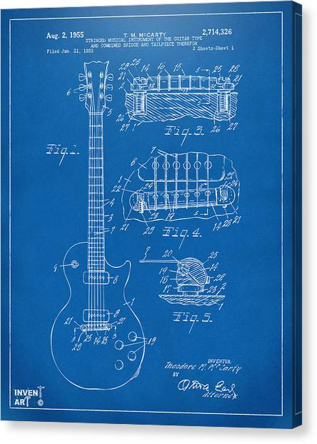 Acoustic Guitars Canvas Print - 1955 Mccarty Gibson Les Paul Guitar Patent Artwork Blueprint by Nikki Marie Smith