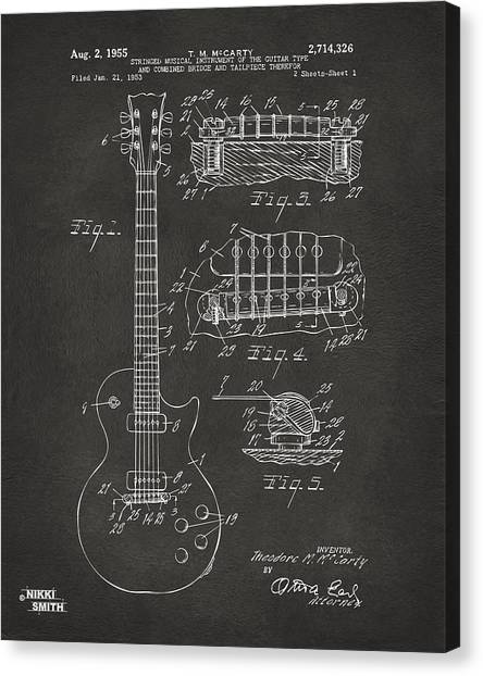 Electric Guitars Canvas Print - 1955 Mccarty Gibson Les Paul Guitar Patent Artwork - Gray by Nikki Marie Smith