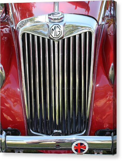 1955 Red Mg Grille Canvas Print by Mark Steven Burhart
