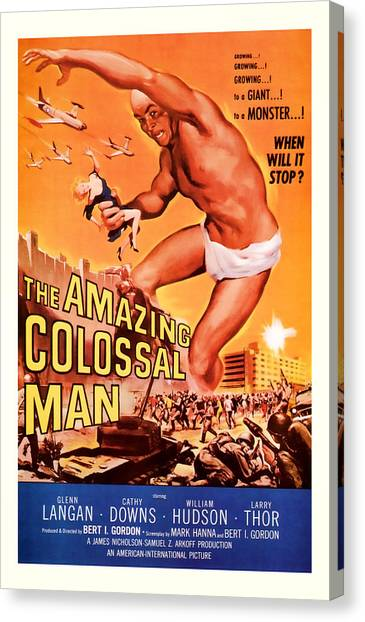 1955 The Amazing Colossal Man Vintage Movie Art Canvas Print