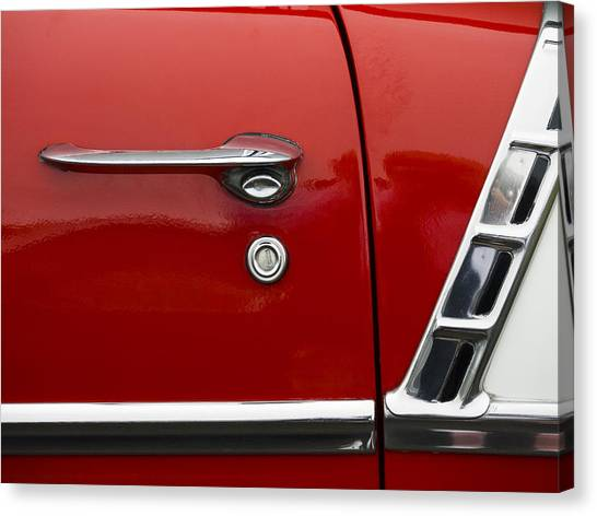 50s Canvas Print - 1956 Chevy Door Detail by Carol Leigh