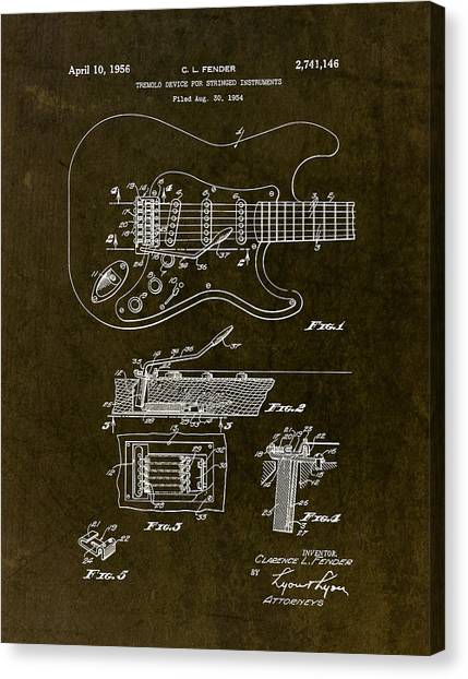 Stratocasters Canvas Print - 1956 Fender Tremolo Patent Drawing II by Gary Bodnar