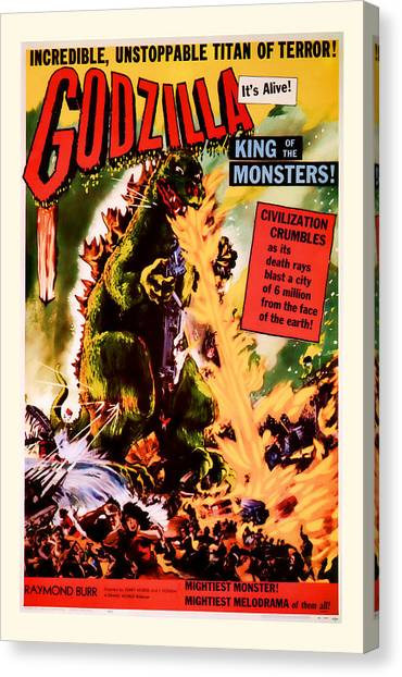 1956 Godzilla Vintage Movie Art Canvas Print
