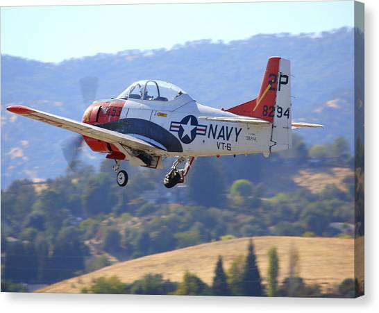 1956 North American T-28b On Climb-out N5440f Canvas Print