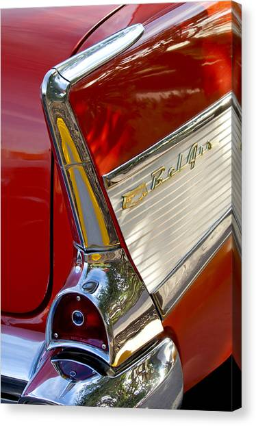 Canvas Print featuring the photograph 1957 Chevrolet Belair Taillight by Jill Reger