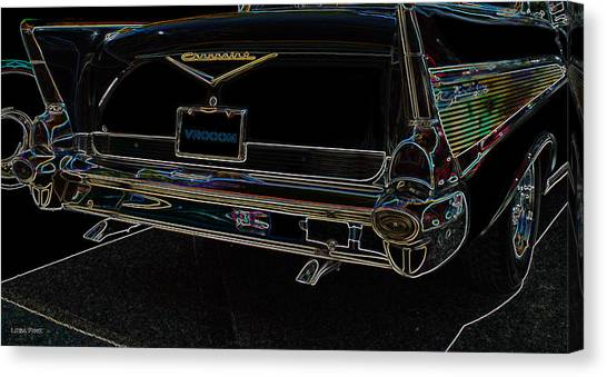 1957 Chevrolet Rear View Art Black_varooom Tag Canvas Print