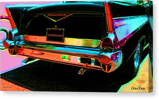 1957 Chevy Art Red Varooom Canvas Print