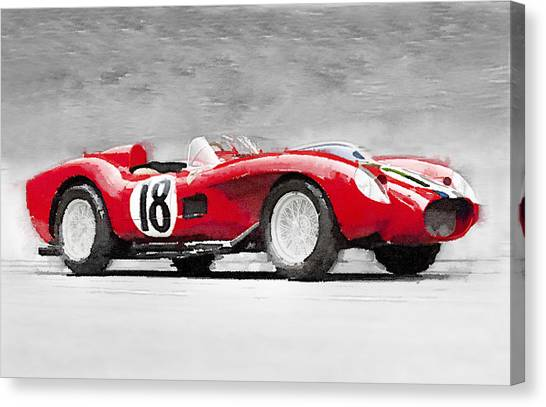 Ferrari Canvas Print - 1957 Ferrari Testarossa Watercolor by Naxart Studio