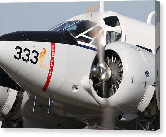 1957 Twin Beech E185 Taxis From The Ramp N5867 Canvas Print by John King