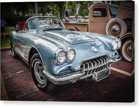 1958 Chevy Corvette Painted Canvas Print