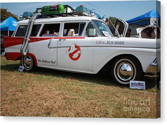 Ghostbusters Canvas Print - 1958 Ford Suburban Ghostbusters Car by John Telfer