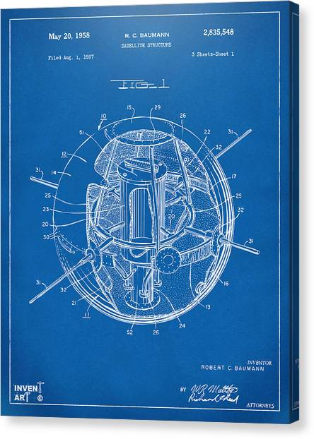 Satellite Canvas Print - 1958 Space Satellite Structure Patent Blueprint by Nikki Marie Smith