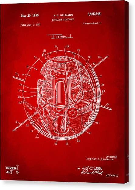 Satellite Canvas Print - 1958 Space Satellite Structure Patent Red by Nikki Marie Smith