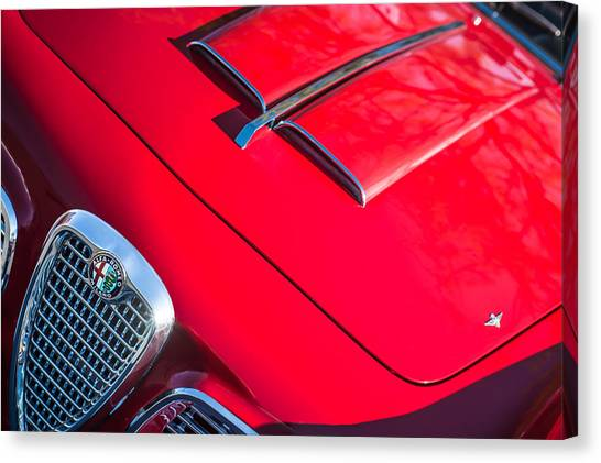 Romeo Canvas Print - 1959 Alfa Romeo 2000 Spider Grille Emblem by Jill Reger