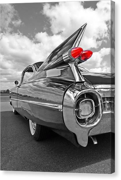 Old Home Canvas Print - 1959 Cadillac Tail Fins by Gill Billington