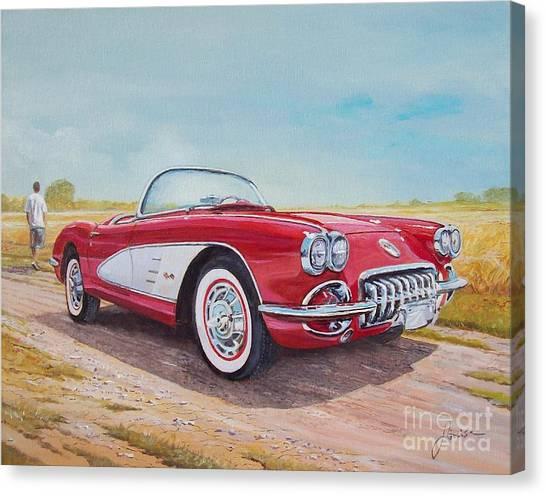 1959 Chevrolet Corvette Cabriolet Canvas Print