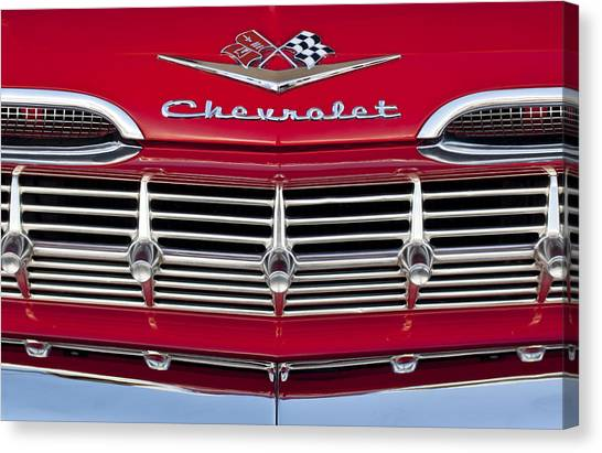 Grills Canvas Print - 1959 Chevrolet Grille Ornament by Jill Reger