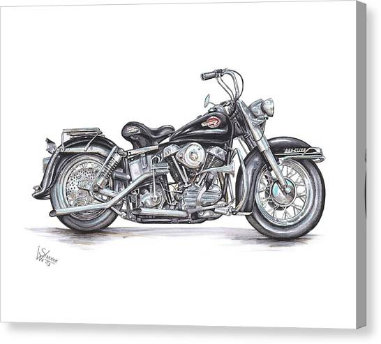 Bicycle Canvas Print - 1959 Harley Davidson Panhead by Shannon Watts