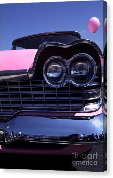 1959 Pink Plymouth Fury With Balloon Canvas Print by Anna Lisa Yoder