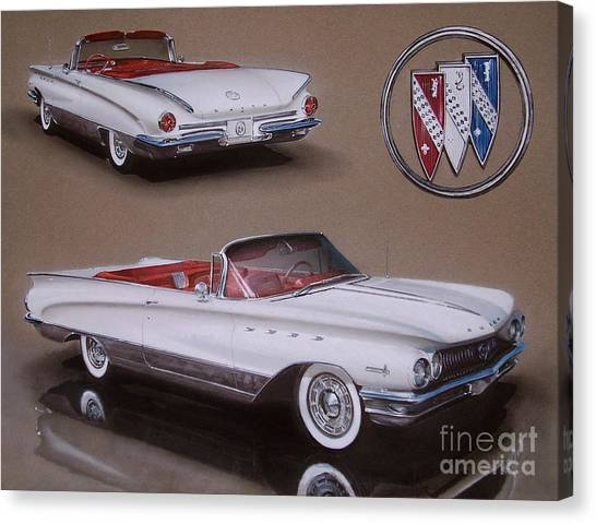 Classic Car Drawings Canvas Print - 1960 Buick Electra by Paul Kuras