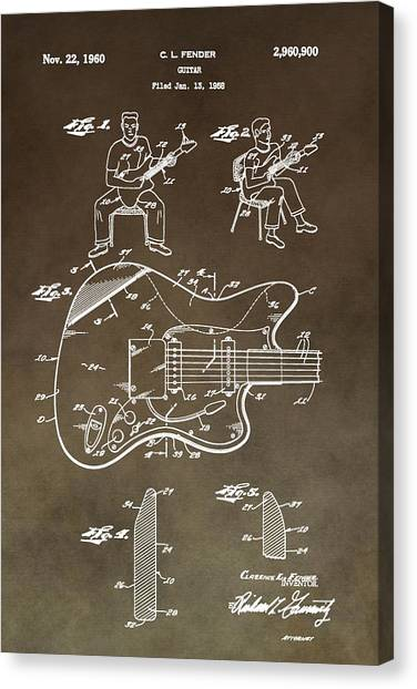 Guitar Picks Canvas Print - 1960 Fender Guitar Patent by Dan Sproul