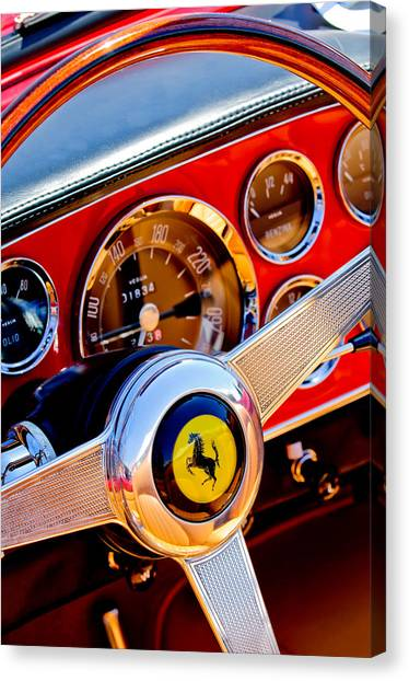 Canvas Print featuring the photograph 1960 Ferrari 250 Gt Cabriolet Pininfarina Series II Steering Wheel Emblem -1319c by Jill Reger