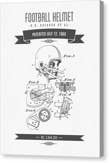 Gridiron Canvas Print - 1960 Football Helmet Patent Drawing - Retro Gray by Aged Pixel