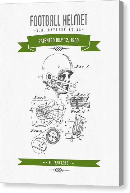 Gridiron Canvas Print - 1960 Football Helmet Patent Drawing - Retro Green by Aged Pixel
