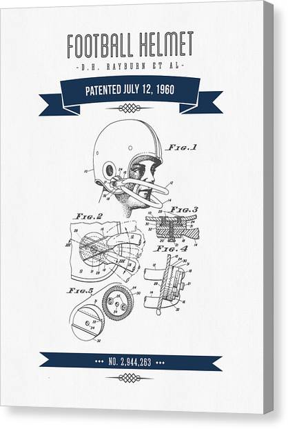Gridiron Canvas Print - 1960 Football Helmet Patent Drawing - Retro Navy Blue by Aged Pixel