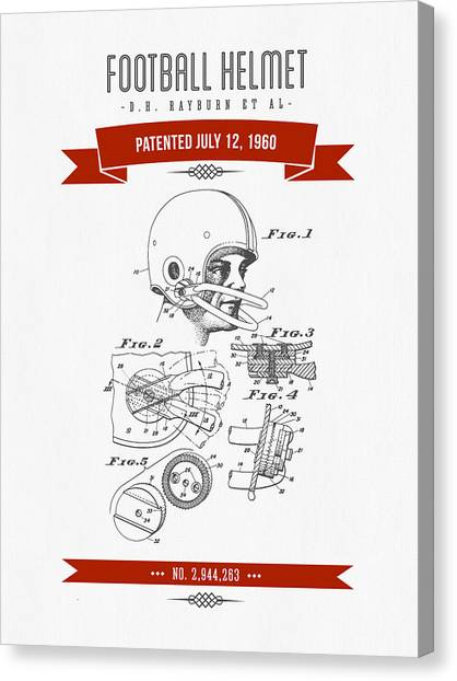 Gridiron Canvas Print - 1960 Football Helmet Patent Drawing - Retro Red by Aged Pixel
