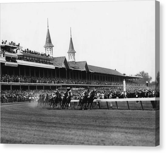 Thoroughbreds Canvas Print - 1960 Kentucky Derby Horse Racing Vintage by Retro Images Archive
