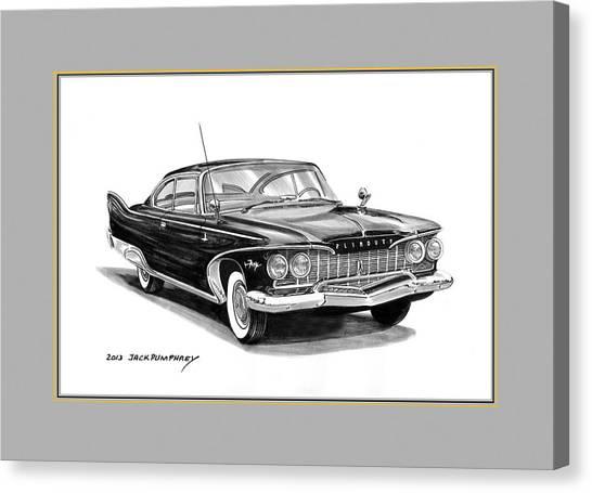 Classic Car Drawings Canvas Print -  Plymouth Fury by Jack Pumphrey