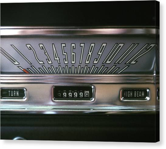 Turn Signals Canvas Print - 1960s 1970s Speedometer Dash Dashboard by Vintage Images