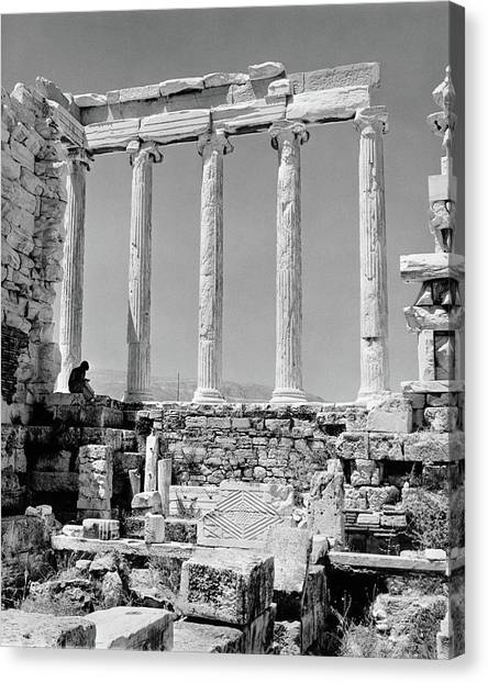 The Parthenon Canvas Print - 1960s Anonymous Book Reader Sitting by Vintage Images