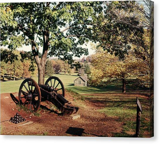 Log Cabin Canvas Print - 1960s Autumn Scene At Valley Forge by Vintage Images