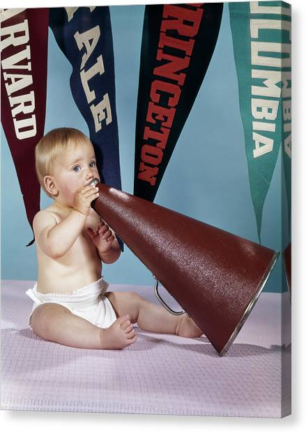 Yale University Canvas Print - 1960s Baby Shouting Into Cheerleader by Vintage Images