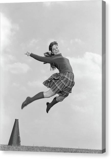 Cheerleading Canvas Print - 1960s Cheerleader In Sweater Plaid by Vintage Images