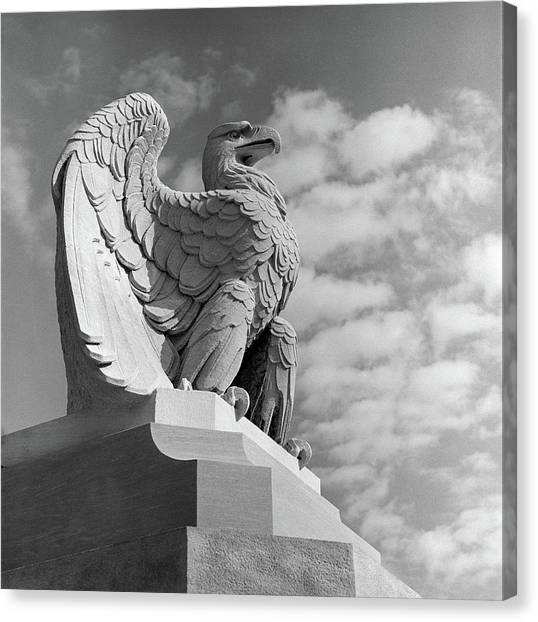 Nra Canvas Print - 1960s Eagle Statue Against Sky Clouds by Vintage Images