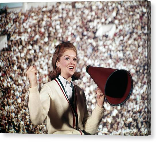 Cheerleading Canvas Print - 1960s Female Cheerleader Cheering Red by Vintage Images