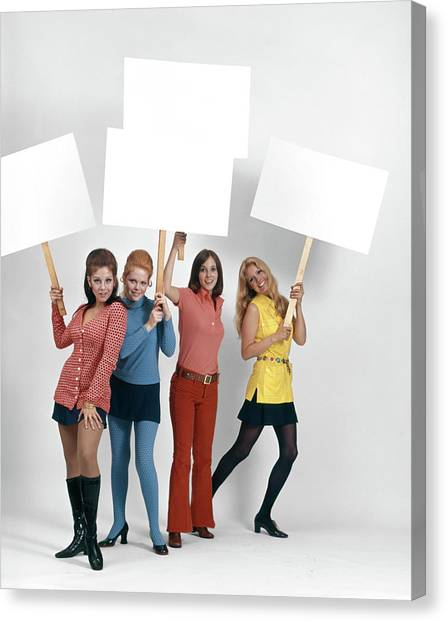 Womens Rights Canvas Print - 1960s Four Women Protesters Holding by Vintage Images