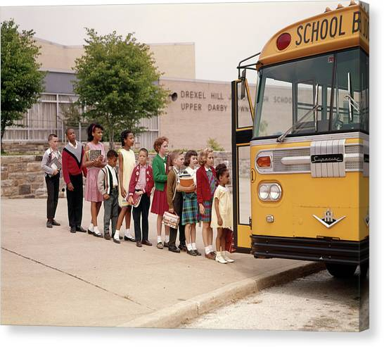 Elementary School Canvas Print - 1960s Group Of Kids In Line Getting by Vintage Images