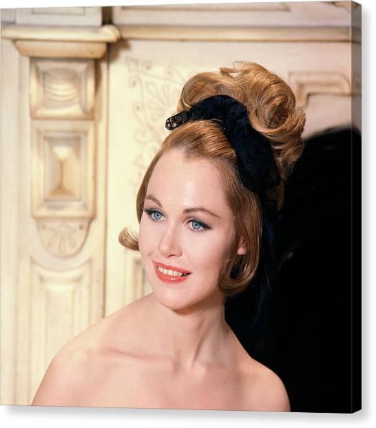 Bare Shoulder Canvas Print - 1960s High Fashion Blue Eyed Model by Vintage Images