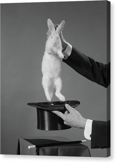 Hat Trick Canvas Print - 1960s Magicians Hands Pulling White by Vintage Images