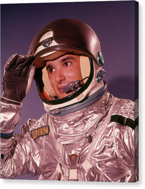 Future Tech Canvas Print - 1960s Man Astronaut Lifting Up Visor by Vintage Images