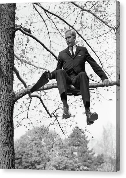 Self Discovery Canvas Print - 1960s Man In Tree Branch Limb by Vintage Images